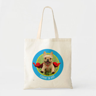 Cute French Bulldog Superhero Runs in Grass Tote Bag
