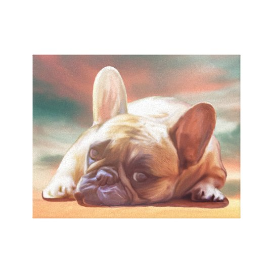 Cute French Bulldog Water Colour Art Painting Canvas