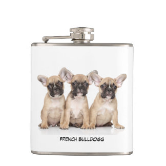 Cute French Bulldogs Hip Flask