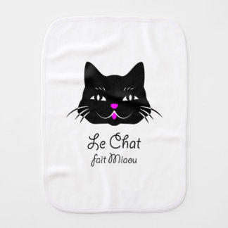 Cute French Cat Says Meow! Burp Cloth