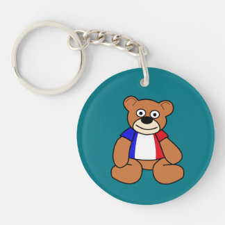 Cute French Flag Teddy Bear Double-Sided Round Acrylic Key Ring