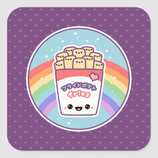 Cute French Fries Square Sticker
