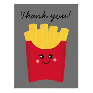 cute french fry with gray background postcard
