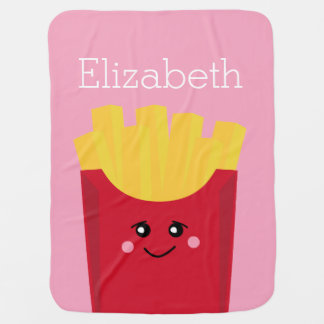 cute french fry with pink background buggy blanket