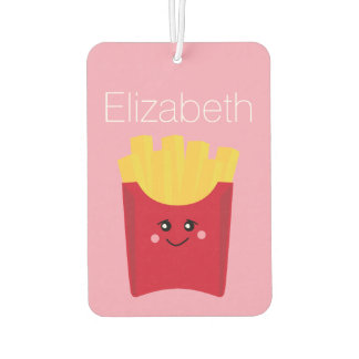 cute french fry with pink background car air freshener