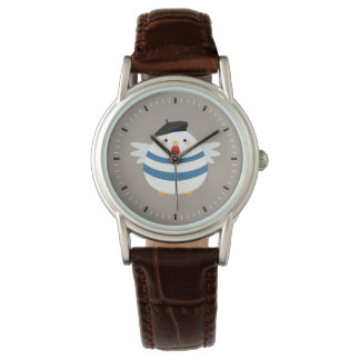 Cute French Hen with Beret Illustration Watches