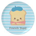 cute French toast with blue beret hat Plate