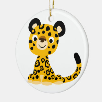 Cute Friendly Cartoon Jaguar Christmas Ornament