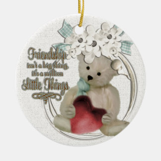 Cute friendship bear round ceramic decoration