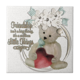 Cute friendship bear tile