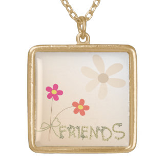 Cute Friendship embossed heart design Gold Plated Necklace