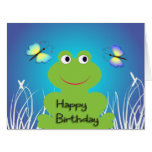 Cute frog and butterfly.Happy Birthday Greeting Card