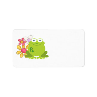 Cute Frog and Flowers Address Label