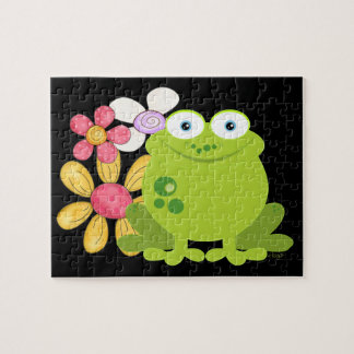 Cute Frog and Flowers Jigsaw Puzzle