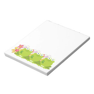 Cute Frog and Flowers Notepad