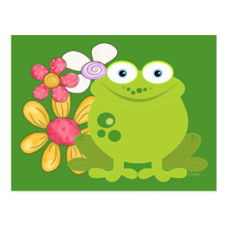 Cute Frog and Flowers Postcard