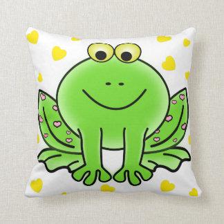Cute frog and hearts kids room nursery colorful cushion