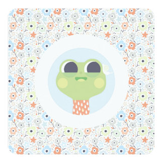 Cute frog and snail illustration & floral pattern 13 cm x 13 cm square invitation card