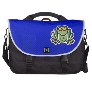 Cute Frog Blue Laptop Commuter Bag
