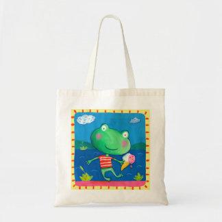 cute frog budget tote bag