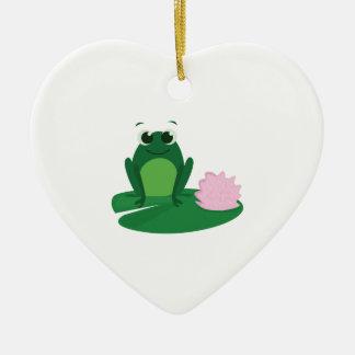 Cute Frog Ceramic Heart Decoration