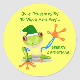 Cute Frog Funny Animal Kids Christmas Classic Round Sticker