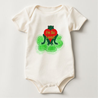 Cute Frog & Heart on Lily Pad Baby Bodysuit