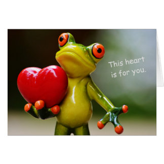 Cute Frog Holding Red Heart Valentine Card