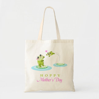 Cute Frog Hoppy Happy Mother's Day Budget Tote Bag