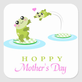 Cute Frog Hoppy Happy Mother's Day Square Sticker