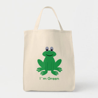 "Cute frog, ""I´m Green"" organic tote bag"
