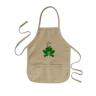 Cute frog in love kids apron