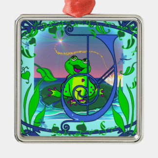 Cute Frog Initial J Premium Gift Tag/Ornament Christmas Ornament