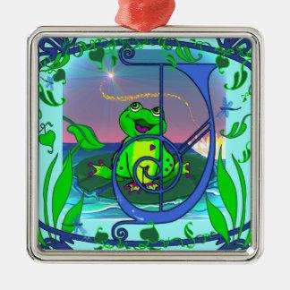 Cute Frog Initial J Premium Gift Tag/Ornament Silver-Colored Square Decoration