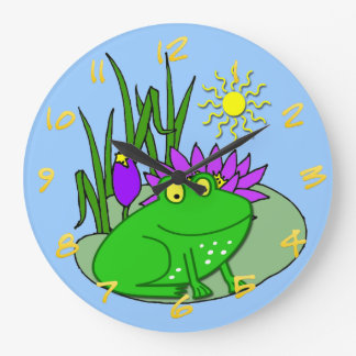 Cute Frog Kid's Round Wall Clock