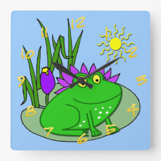 Cute Frog Kid's Square Wall Clock