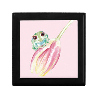 Cute Frog On Pink Gift Box