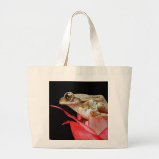 Cute frog on red flower photo tote bag
