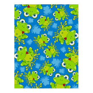 Cute Frog Patterned Postcard