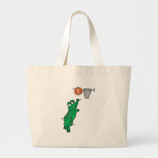 cute frog playing basketball large tote bag