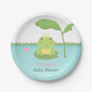 Cute Frog Prince Boy Baby Shower Supplies 7 Inch Paper Plate