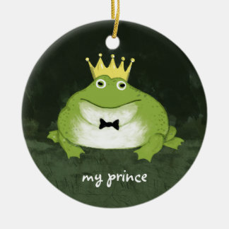 Cute Frog Prince with Customizable Text Christmas Ornament