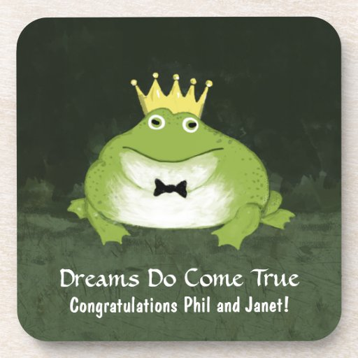 Cute Frog Prince with Customizable Text Drink Coasters