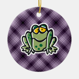 Cute Frog; Purple Double-Sided Ceramic Round Christmas Ornament