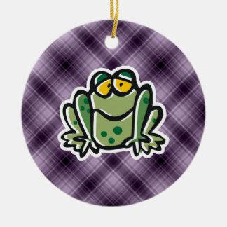 Cute Frog; Purple Round Ceramic Decoration
