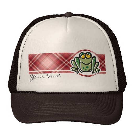 Cute Frog; Red Plaid Hat