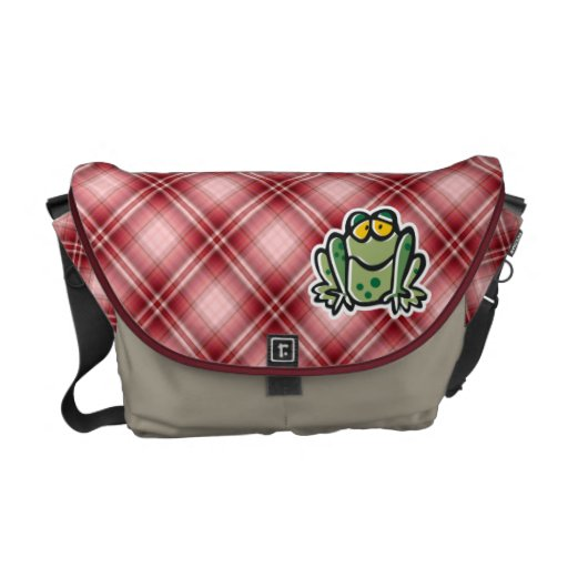 Cute Frog; Red Plaid Messenger Bags