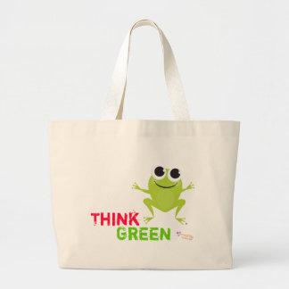 "Cute Frog ""Think Green"" Jumbo Tote Bag"