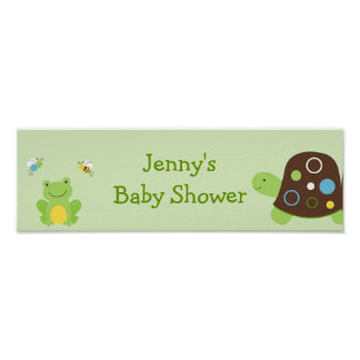 Cute Frog Turtle Bee Baby Shower Banner Sign