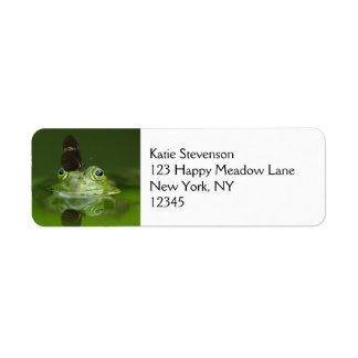 Cute frog with a Butterfly on his nose Return Address Label